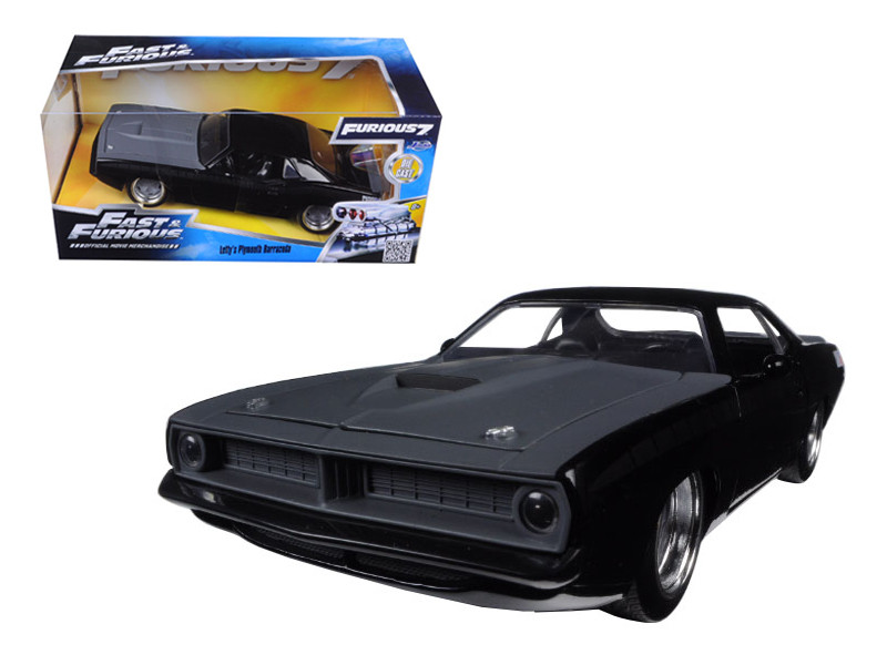 "Letty's Plymouth Barracuda Matt Black ""Fast & Furious 7"" Movie 1/24 Diecast Model Car Jada 97195"
