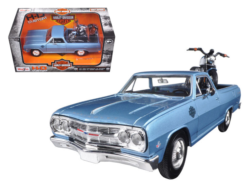 1965 Chevrolet El Camino 1/25 With 2007 Harley Davidson XL 1200N Nightster Motorcycle 1/24 Maisto 32195