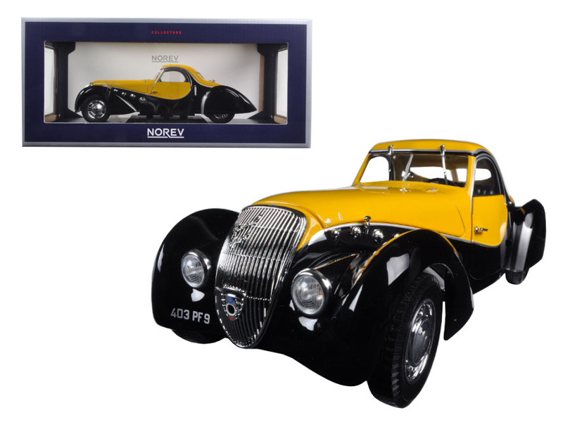 1937 Peugeot 302 Darl Mat Coupe Black and Yellow 1/18 Diecast Model Car Norev 184716