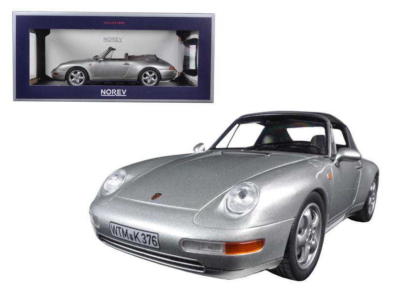 1993 Porsche 911 Cabriolet Silver 1/18 Diecast Model Car Norev 187592