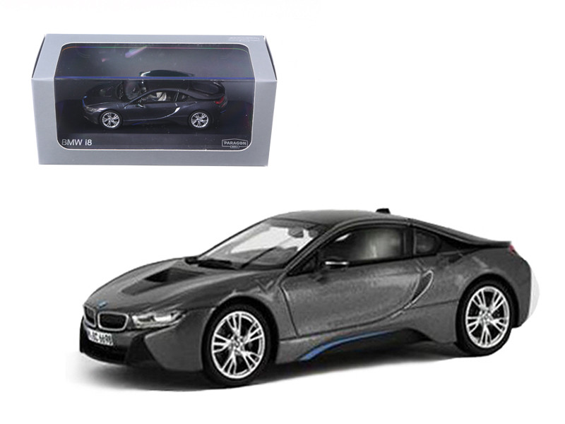 BMW i8 Grey with Blue 1/43 Diecast Model Car Paragon 91051