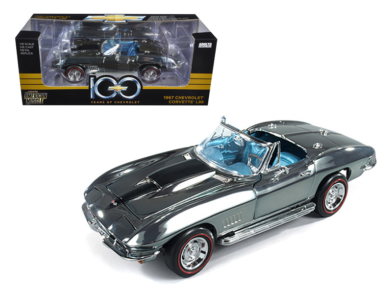 1967 Chevrolet Corvette L88 Chrome 100th Years Of Chevrolet Centennial Edition Limited Edition 1 of 750 Produced Worldwide Limited Edition 1 of 750 Produced Worldwide 1/18 Diecast Model Car Autoworld AMM800