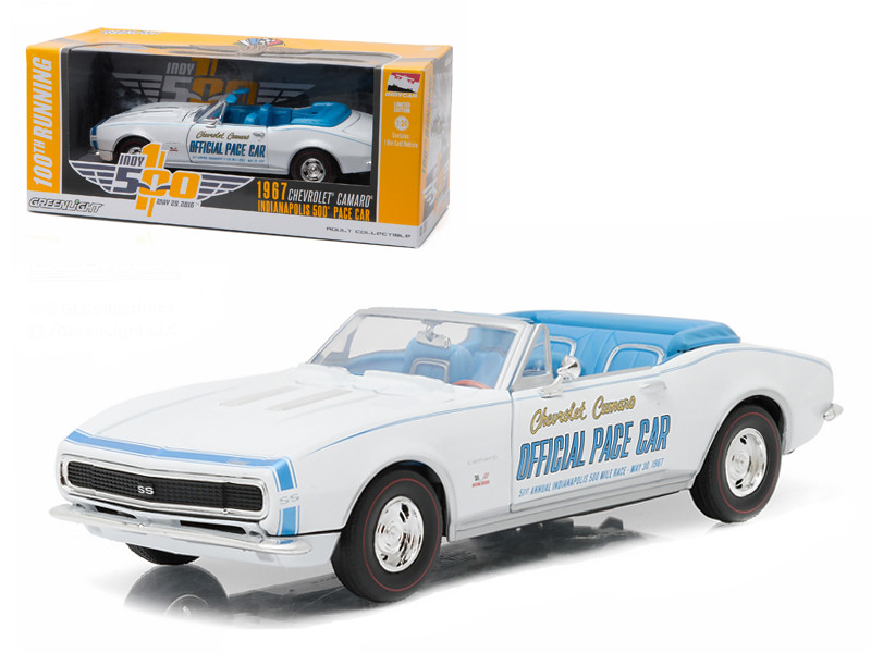 1967 Chevrolet Camaro Convertible Indy 500 Pace Car 100th Running of the Indianapolis Pace Car Collection 1/24 Diecast Model Car Greenlight 18221