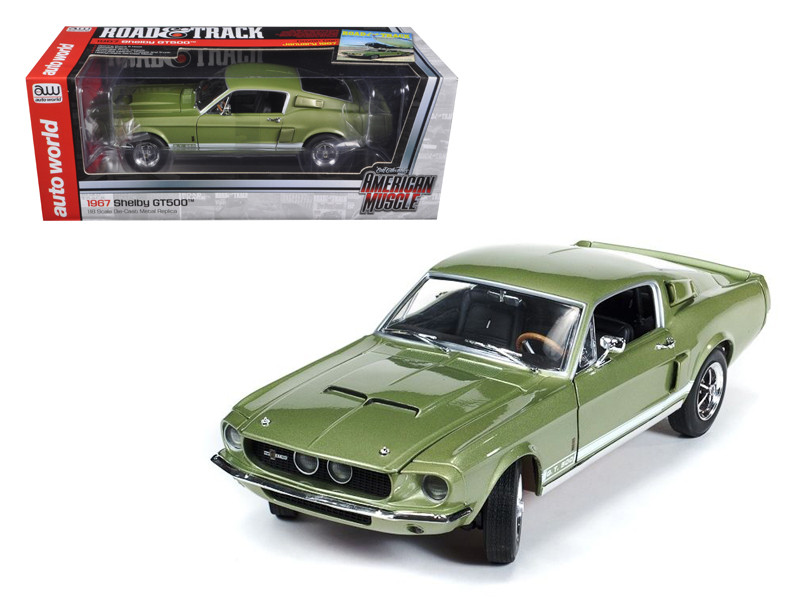 1967 Ford Shelby Mustang GT500 GT 500 Light Green Limited to 1500pc 1/18 Diecast Model Car Autoworld AMM993