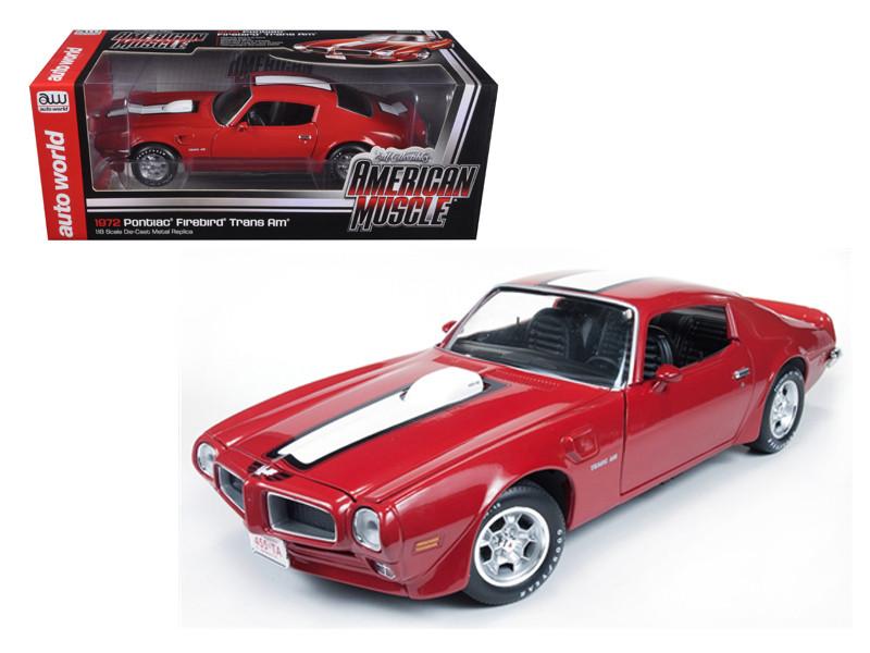 1972 Pontiac Firebird Trans Am Cardinal Red Limited to 1500pc 1/18 Diecast Model Car Autoworld AMM998