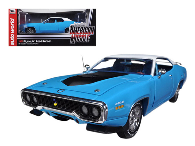 1971 Plymouth Road Runner 440 6 Pack Petty Blue Limited to 1500pc 1/18 Diecast Model Car Autoworld AMM1012