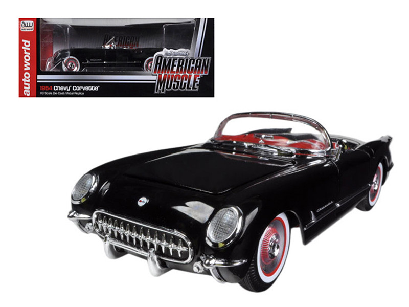 1954 Chevrolet Corvette Black Limited to 1500pc 1/18 Diecast Model Car Autoworld AMM1015