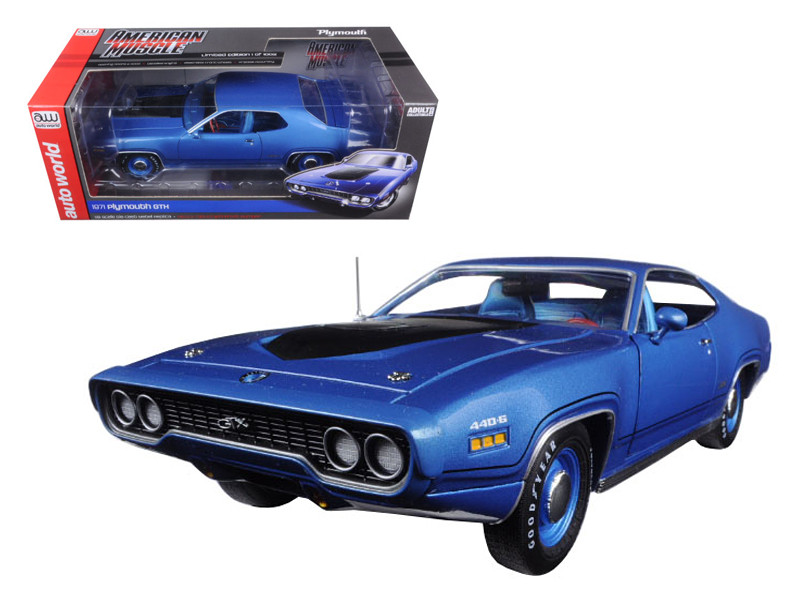 1971 Plymouth GTX Hardtop Blue Metallic Limited Edition to 1002pcs 1/18 Diecast Model Car Autoworld AMM1065