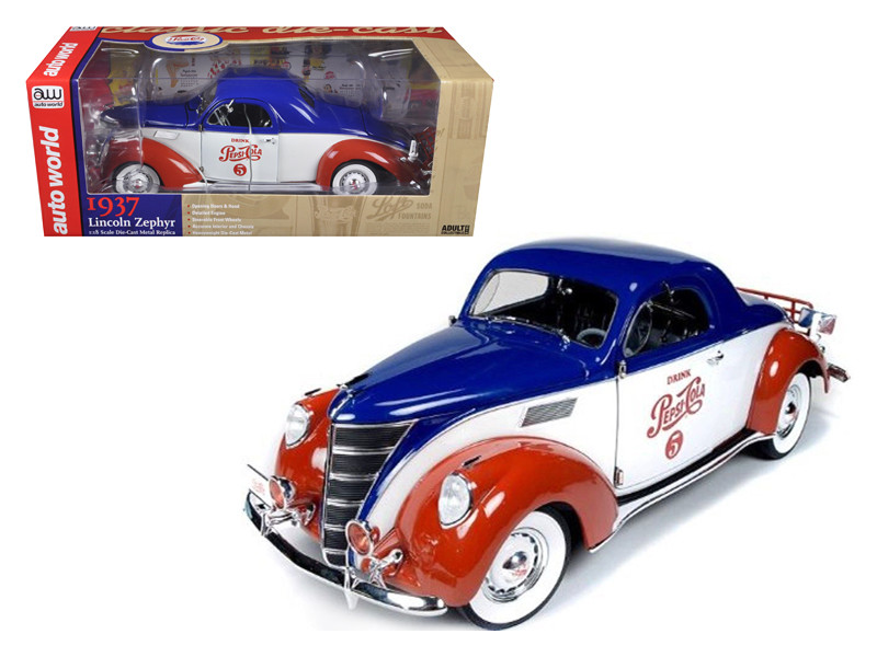 "1937 Lincoln Zephyr Coupe \Pepsi Cola"" Limited to 1500pc 1/18 Diecast Model Car by Autoworld"""""""