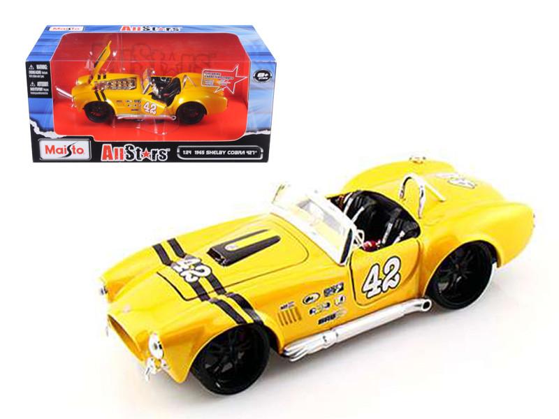 1965 Shelby Cobra 427 #42 Yellow 1/24 Diecast Model Car by Maisto