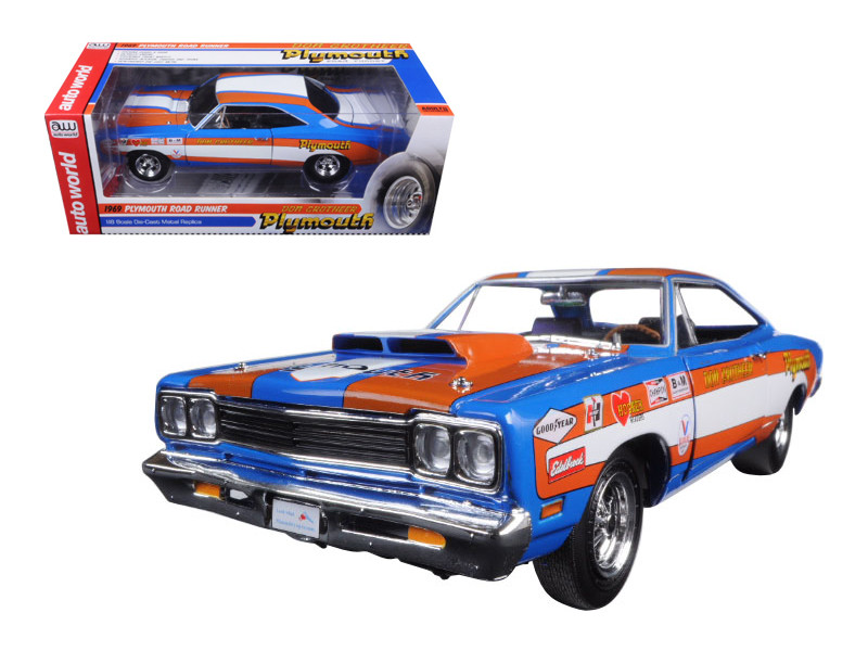 "1969 Plymouth Roadrunner 440+6 ""Don Grotheer"" Limited Edition to 996pcs 1/18 Diecast Model Car Autoworld AW220"