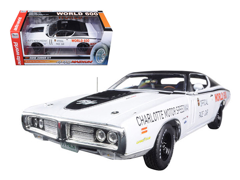 1971 Dodge Charger White Charlotte Motor Speedway World 600 Pace Car Limited Edition to 1002pc 1/18 Diecast Model Car Autoworld AW223