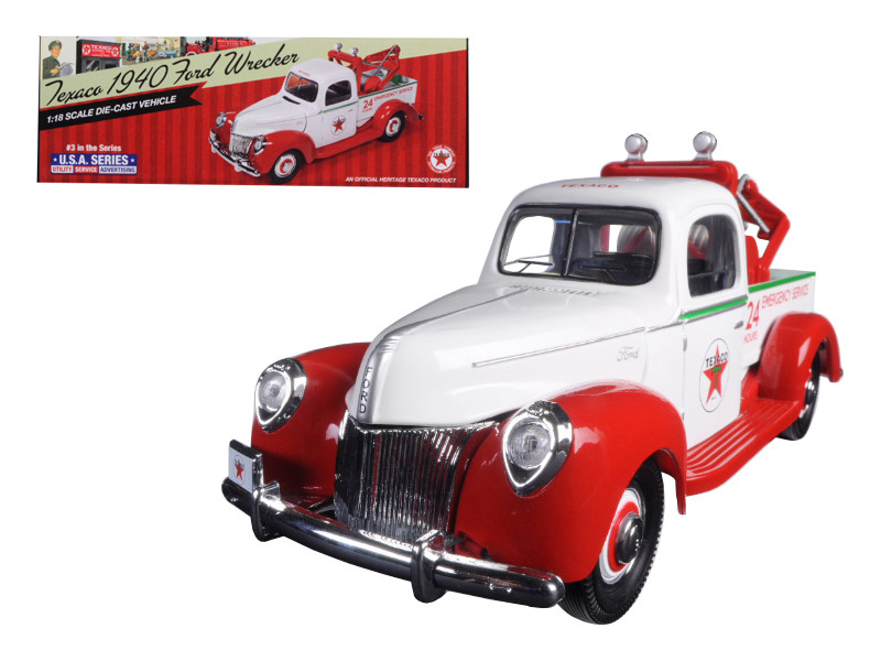"1940 Ford Tow Truck Wrecker ""Texaco"" 1/18 Diecast Model Autoworld CP7321"