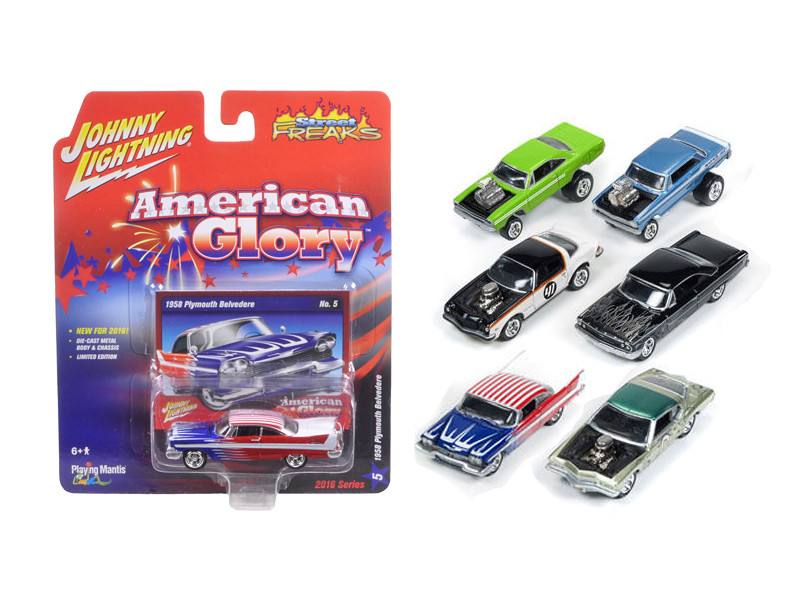 Street Freaks Release 1-A, Set of 6 cars 1/64 Diecast Model Cars Johnny Lightning JLSF001-A