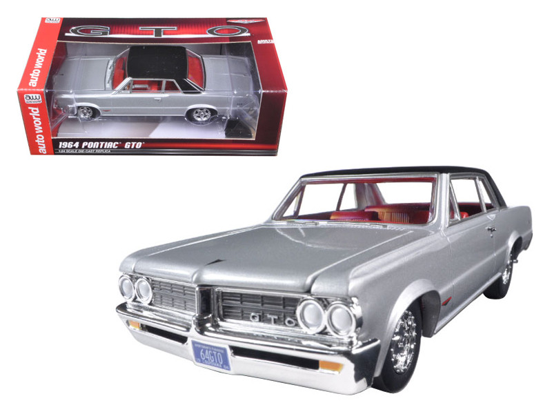 1964 Pontiac GTO Silvermist Grey with Gloss Black Roof 1/24 Diecast Model Car Autoworld AW24007