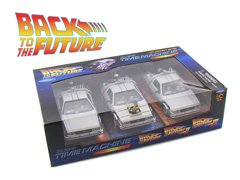 Back To The Future 1, 2, 3 Trilogy Delorean Time Machine Set 1/24 Diecast Car Models Welly 22400-3G