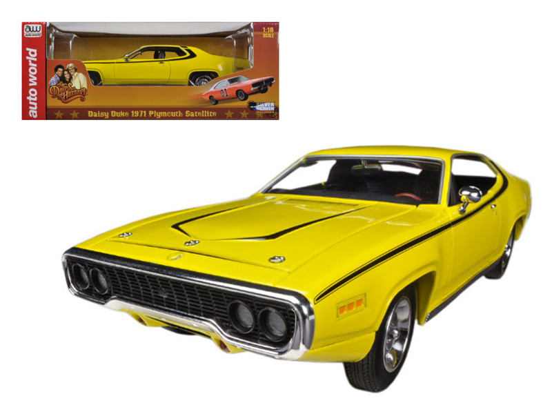 "1971 Plymouth Satellite Yellow ""Dukes Of Hazzard"" Limited to 2000pc 1/18 Diecast Model Car Autoworld AWSS105"