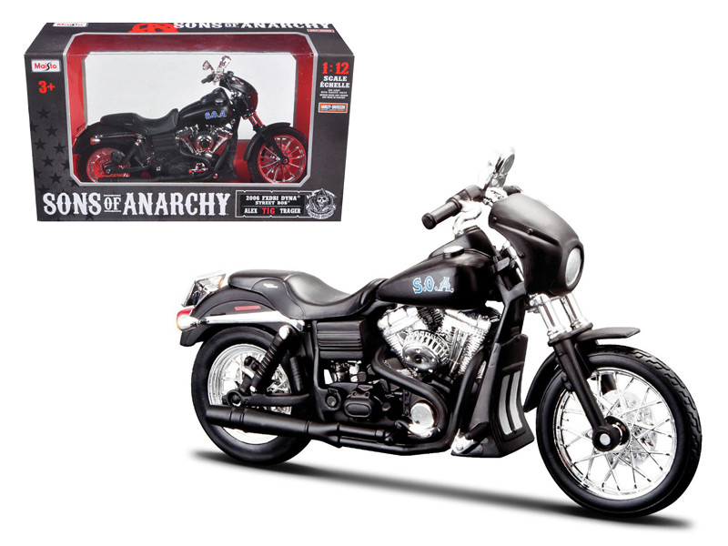 "Sons of Anarchy Alex ""Tig"" Trager's 2006 Harley Davidson FXDBI Dyan Street Bob Bike Motorcycle Model 1/12 Maisto 32343"
