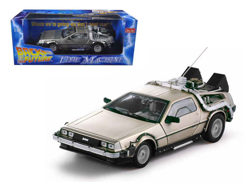 "Delorean Time Machine From Movie ""Back To The Future I"" 1/18 Diecast Model Car by Sunstar"