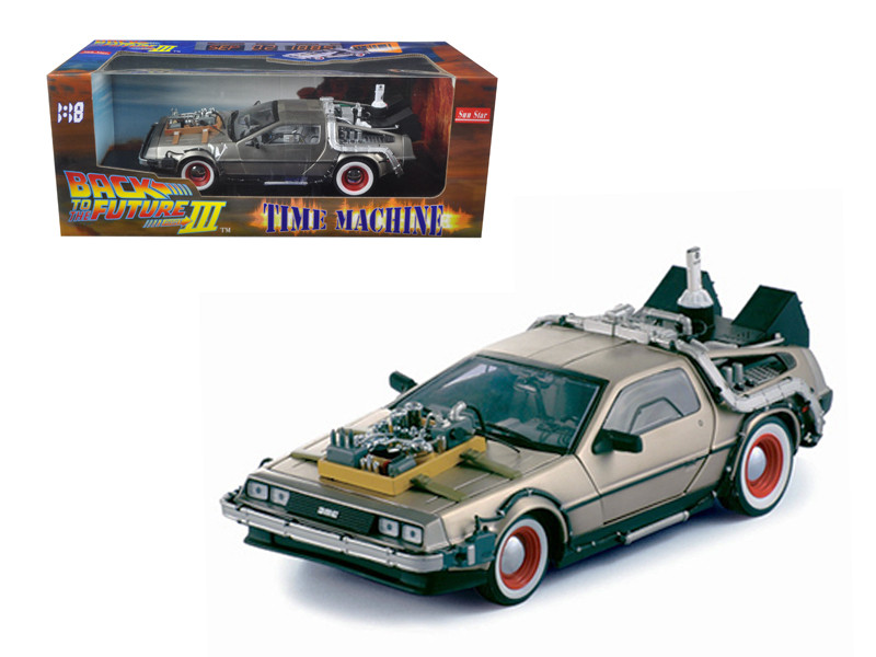 "Delorean Time Machine From ""Back To The Future III"" Movie 1/18 Diecast Model Car Sunstar 2712"