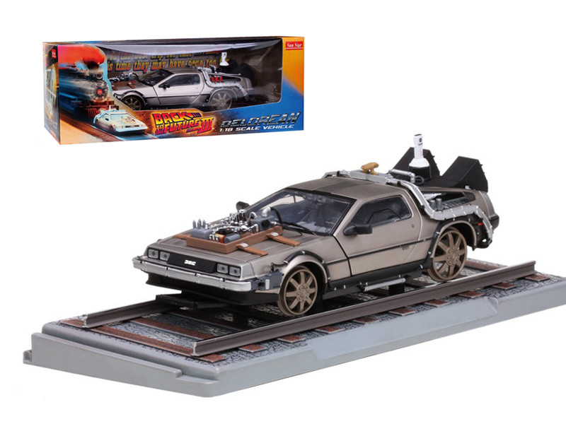 "Delorean From Movie \Back To The Future 3"" Railroad Time Machine 1/18 Diecast Model Car by Sunstar"""""""
