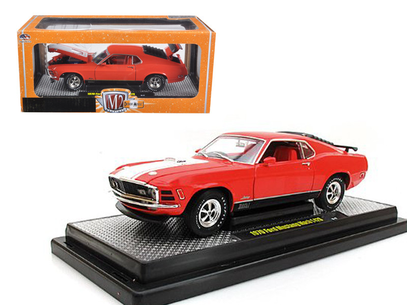 1970 Ford Mustang Mach 1 428 Calypso Coral 1/24 Diecast Model Car M2 Machines 40300-36A-02