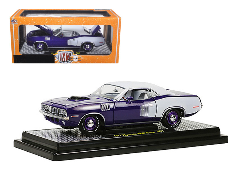 1971 Plymouth Cuda Hemi Violet with White Vinyl Roof 1/24 Diecast Model Car M2 Machines 40300-37C