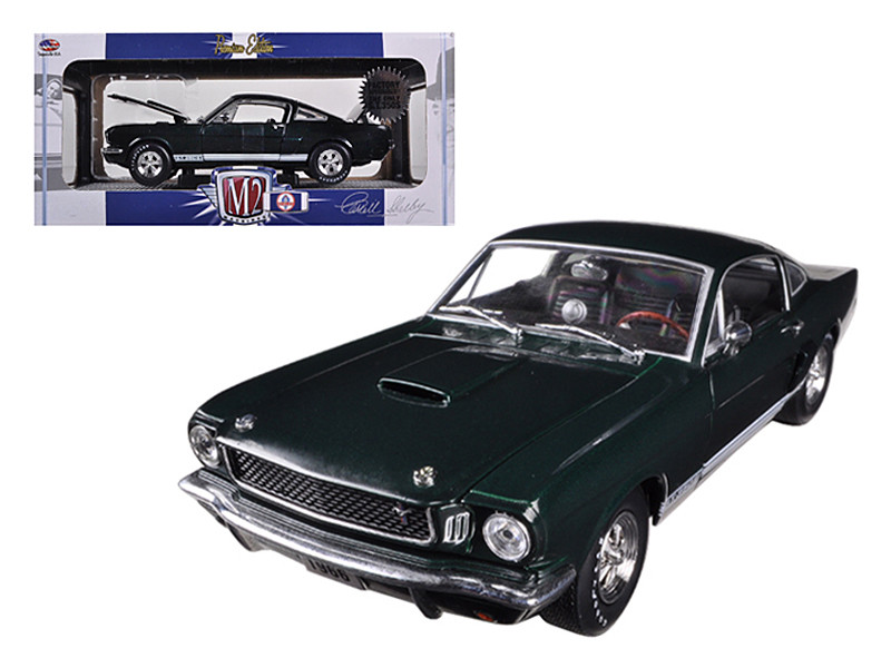 """1966 Ford Shelby Mustang GT350S """"Factory Supercharged"""" Ivy Green Metallic 1/24 Diecast Car Model by Machines 40300-44B"""