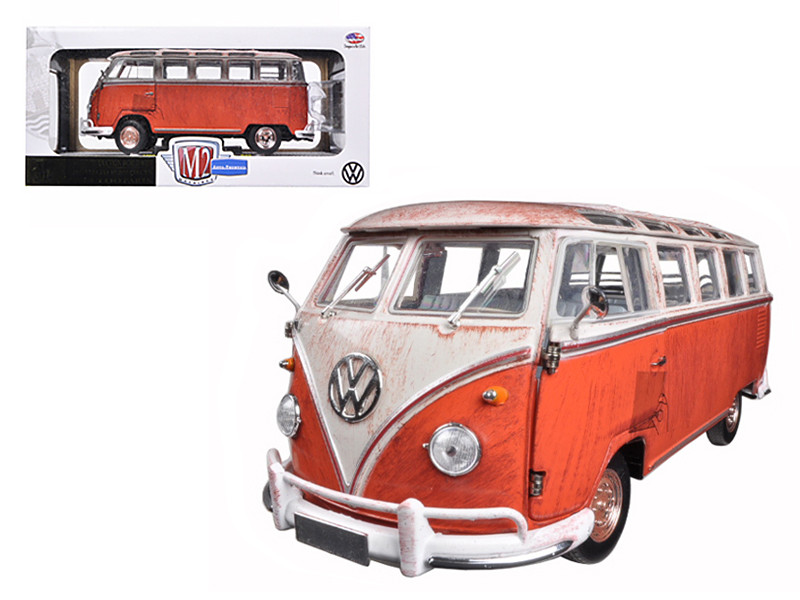 1960 Volkswagen Microbus Deluxe USA Model Red Rusted Verion 1/24 Diecast Model M2 Machines 40300-45a