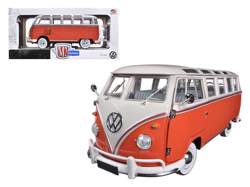 1960 Volkswagen Microbus Deluxe USA Model Red 1/24 Diecast Model M2 Machines 40300-45B