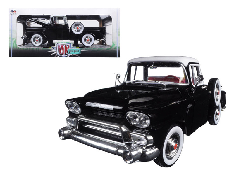 1958 GMC Stepside Truck Gloss Black and Dover White 1/24 Diecast Model by M2 Machines