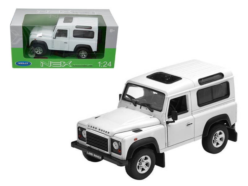 Land Rover Defender White Diecast Car Model 1/24 Die Cast Car Welly 22498