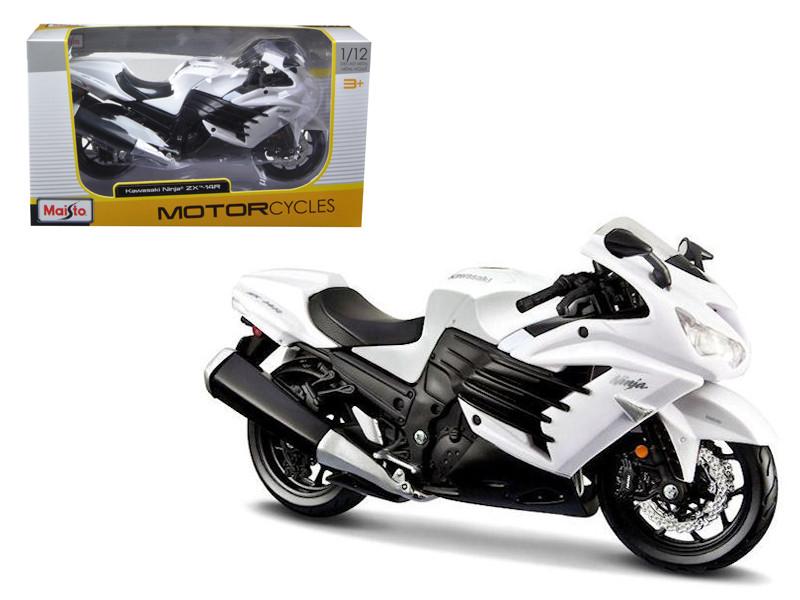 2012 Kawasaki Ninja ZX-14R White Motorcycle 1/12 Maisto 12028