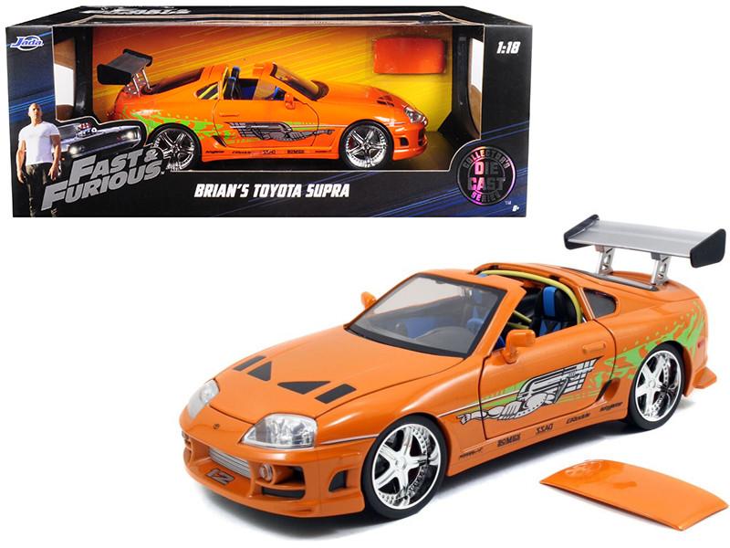 "Brian's Toyota Supra Orange ""Fast & Furious"" Movie 1/18 Diecast Model Car Jada 97505"