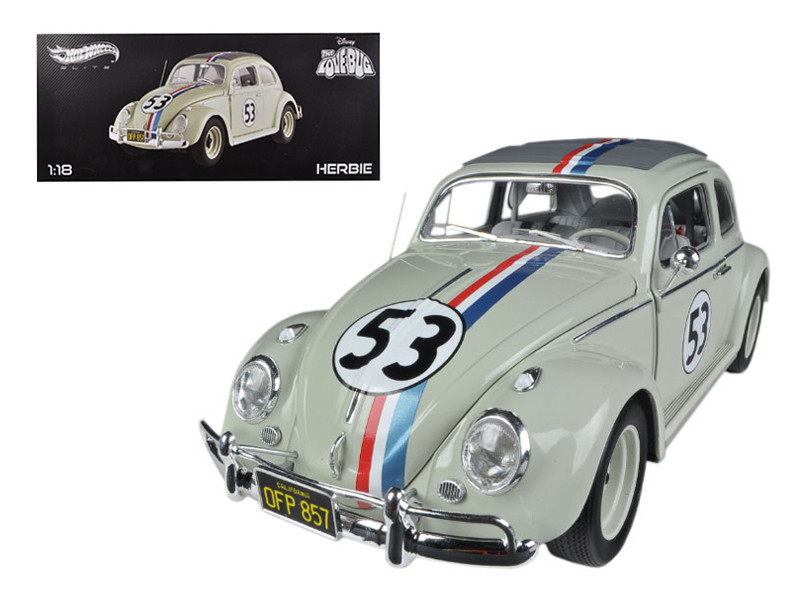 "1963 Volkswagen Beetle \The Love Bug"" Herbie #53 Elite Edition 1/18 Diecast Car Model by Hotwheels"""""""