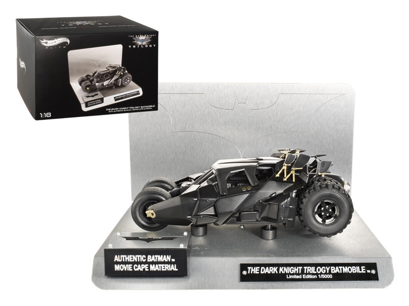 "Elite ""The Dark Knight"" Trilogy Batmobile With Authentic Movie Batman Cape Material 1/18 Diecast Model Hotwheels BCJ99"