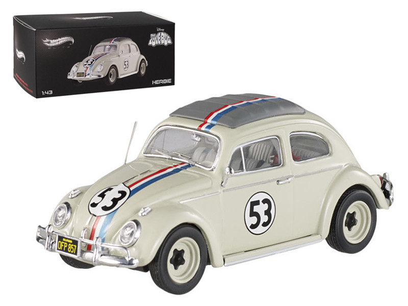 "1962 Volkswagen Beetle \The Love Bug"" Herbie #53 Elite Edition 1/43 Diecast Car Model by Hotwheels"""""""
