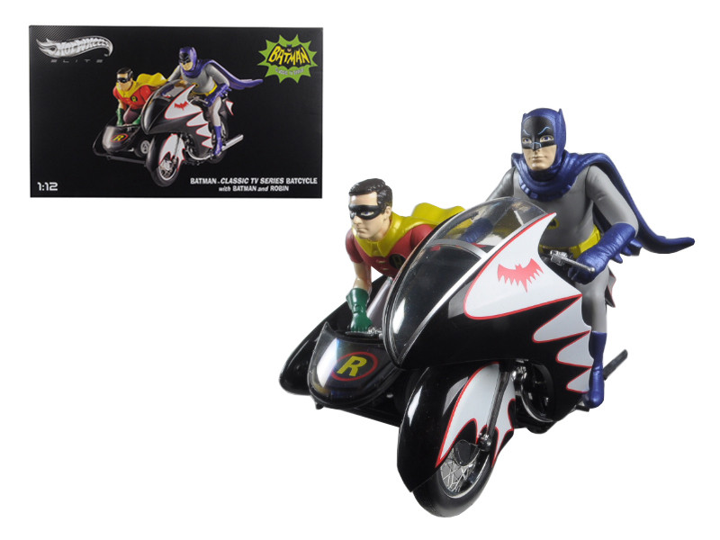 1966 Batcycle Elite Edition and Side Car with Batman and Robin Figures 1/12 Diecast Model Hotwheels CMC85