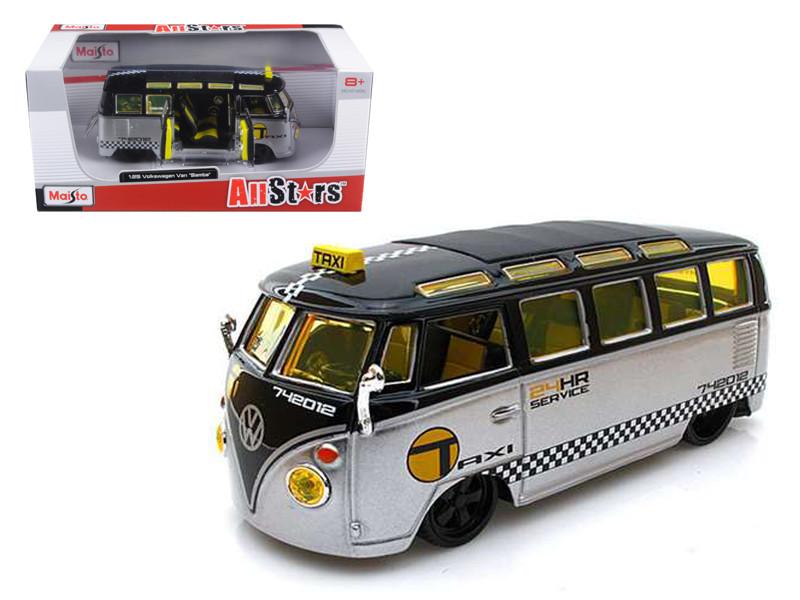 Volkswagen Samba Van/Bus Taxi Silver/Black 1/25 Diecast Model Car Maisto 31364