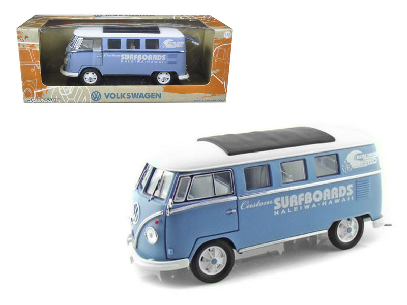 1962 Volkswagen Microbus Custom Surfboards Haleiwa Hawaii 1/18 Diecast Model Car Greenlight 12837