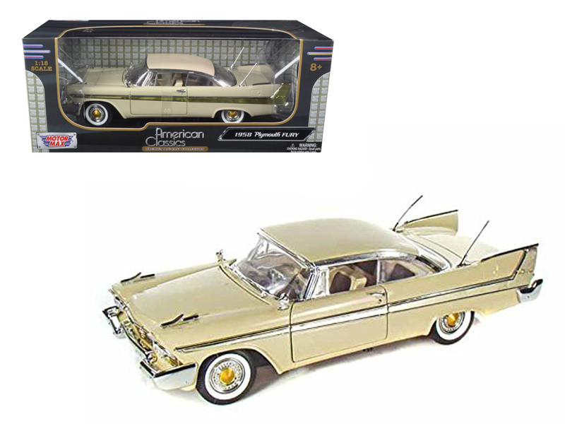 1958 Plymouth Fury Beige 1/18 Diecast Model Car by Motormax