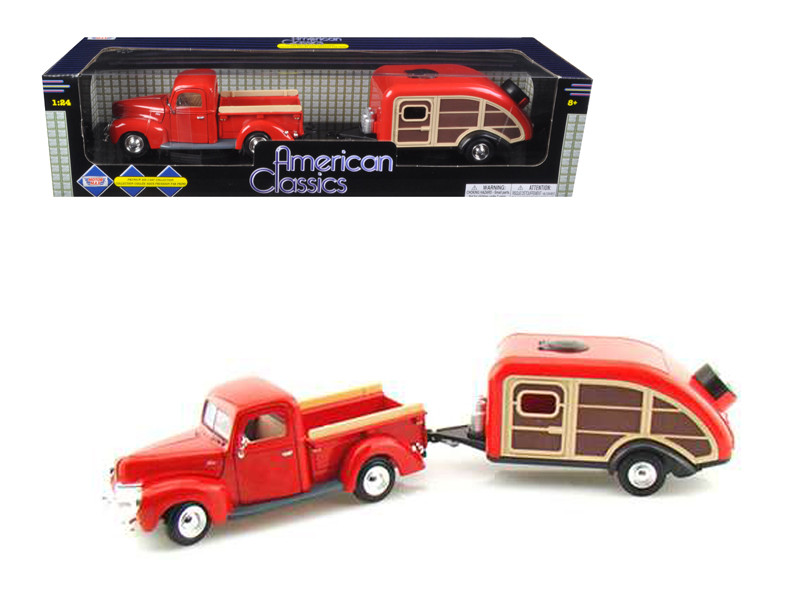 1940 Ford Pickup Truck Red With Tear Drop Trailer 1 24 Diecast Model Motormax 75234