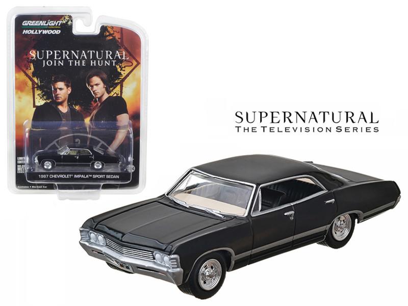"""1967 Chevrolet Impala Sedan 4 Doors Black From Supernatural """"2005 Current TV Series"""" 1/64 Diecast Model Car Greenlight 44692"""
