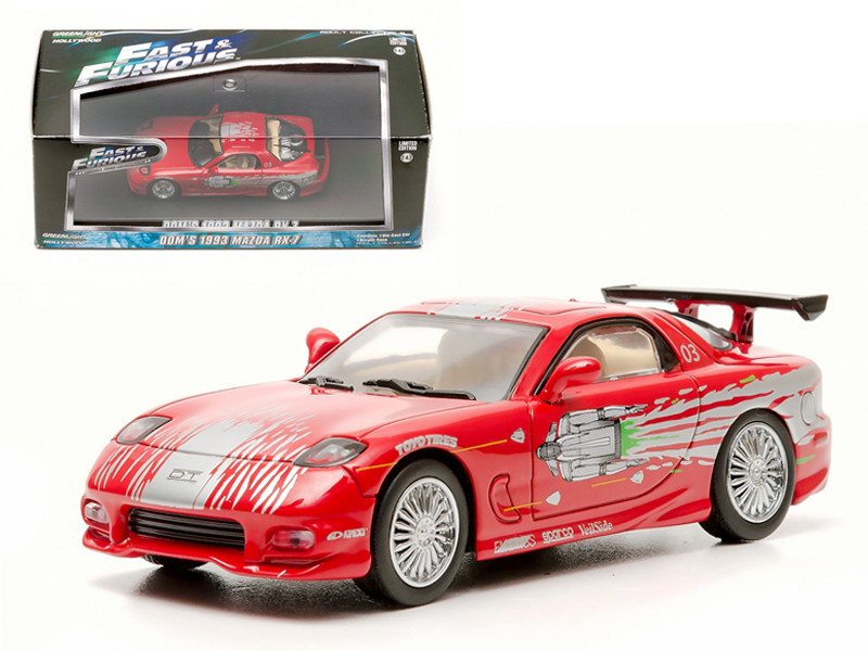 "Dom\'s 1993 Mazda RX-7 Red \The Fast and The Furious"" Movie (2001) 1/43 Diecast Car Model by Greenlight"""""""