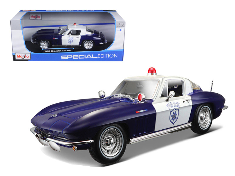 1965 Chevrolet Corvette Blue and White Police 1/18 Diecast Model Car Maisto 31381