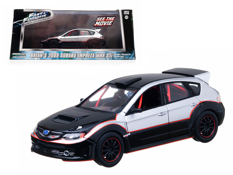 "Brian's 2009 Subaru Impreza WRX STi ""The Fast and The Furious"" Movie (2009) 1/43 Diecast Car Model Greenlight GL86220"