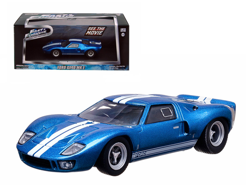 "Vince's 1969 Ford GT 40 MK I Blue ""The Fast and The Furious"" Fast Five Movie (2012) 1/43 Diecast Car Model Greenlight GL86224"