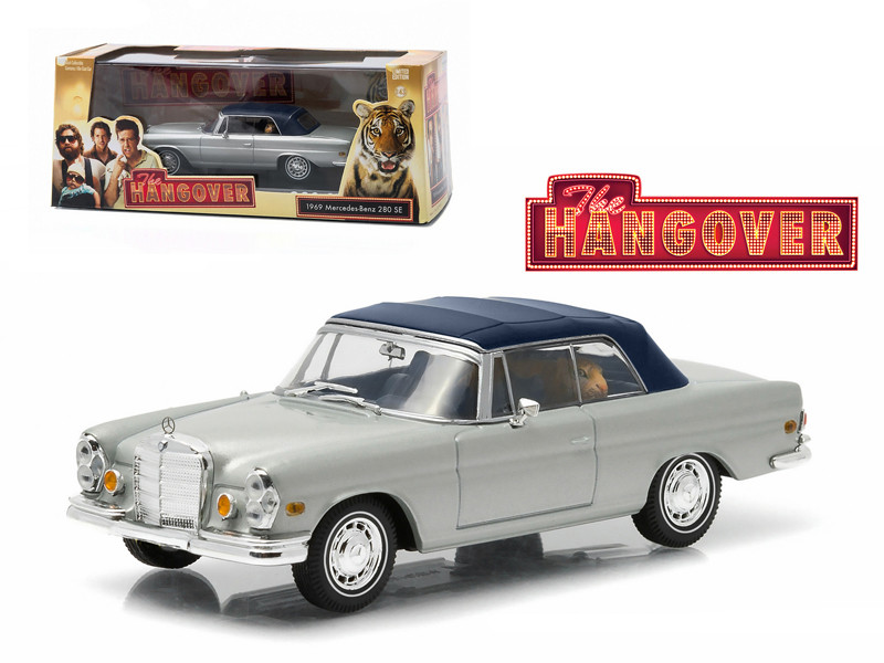 "1969 Mercedes 280 SE Convertible Top Up Damaged with Tiger ""The Hangover"" Movie (2009) 1/43 Diecast Model Car Greenlight 86462"