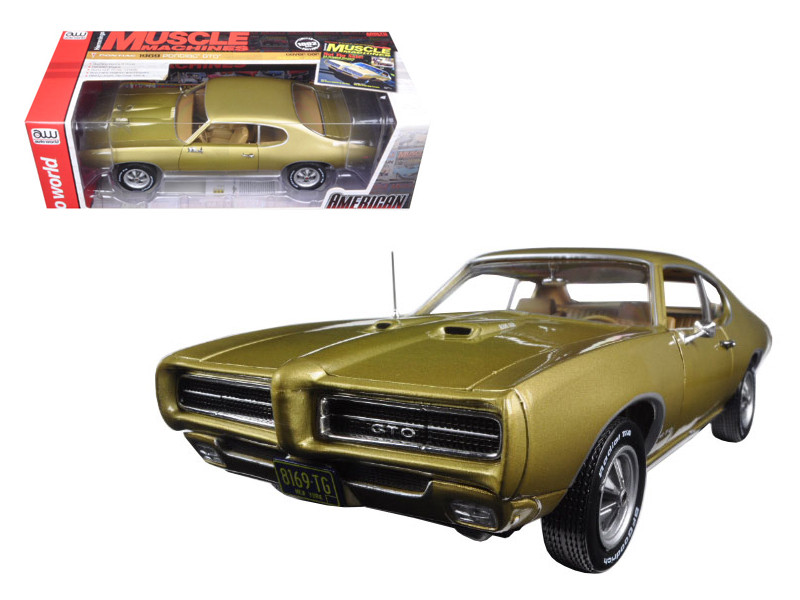 """1969 Pontiac GTO Hardtop Antique Gold """"Hemmings Muscle Magazine"""" Limited Edition to 1002pc 1/18 Diecast Model Car Autoworld AMM1081"""