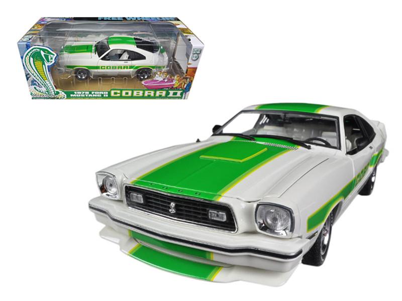 1978 Ford Mustang II Cobra II Free Wheelin White with Green Billboard Stripes 1/18 Diecast Car Model Greenlight GL12895